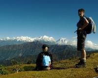 Trekking towards the mountains